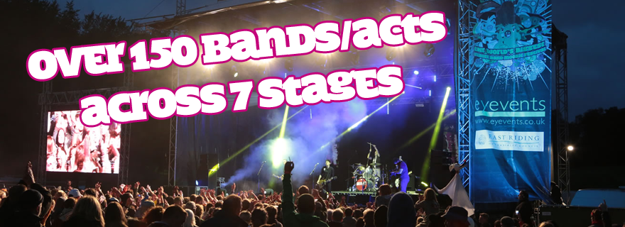 over 150 bands across 7 stages